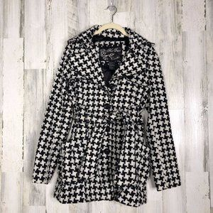 Me Jane Womens Houndstooth Trench Pea Coat Sz S